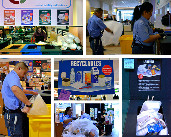 Gerry and Emma collect waste, recyclables and organics from the SUB food court