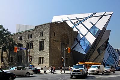 The Royal Ontario Museum from Avenue Road and Bloor.
